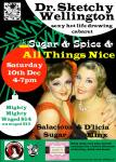 Festive duo, Salacious Sugar and D'licia Minx provided awesome Christmas treats.  Poster by Grace la Belle