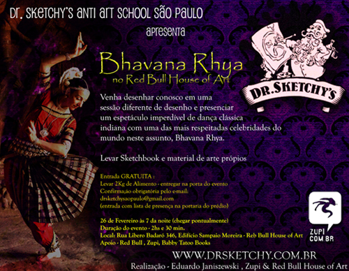 Bhavana Rhya no Red Bull House of Art - Dr Sketchy SP - Brazil