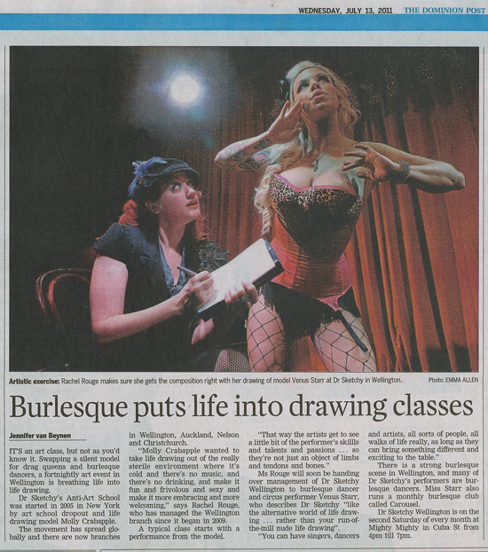 Dr. Sketchy Wellington in the Dominion Post